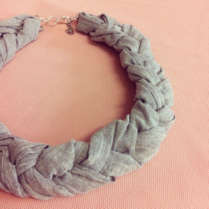 Handmade braided grey fabric necklace