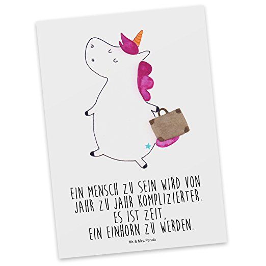 Mr. & Mrs. Panda Postkarte Einhorn Koffer - 100% handmade aus Karton 300 Gramm - Einhorn, unicorn, Einhörner, Koffer, Verreisen, Reise, Gepäck, Abenteuer, Erwachsen, Kind, albern, Spaß, lustig, witzig, Postkarte, Postkarten, Einladungskarte Karte, Geschenkkarte, Brief, Kärtchen, Geschenk Einhorn, unicorn, Einhörner, Koffer, Verreisen, Reise, Gepäck, Abenteuer, Erwachsen, Kind, albern, Spaß, lustig, witzig,