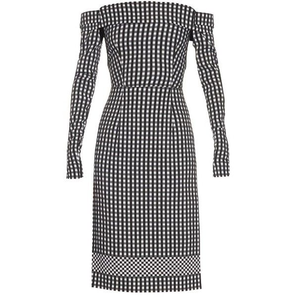 Preen By Thornton Bregazzi Olivia off-the-shoulder gingham dress ($549) ❤ liked on Polyvore featuring dresses, off shoulder cut out dress, cutout sleeve dress, sexy off the shoulder dresses, preen dress and off shoulder dress