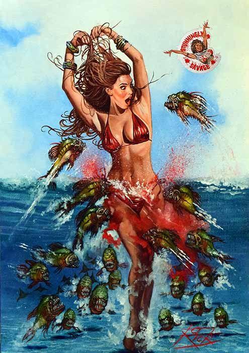 Kelly-Brook-Piranha-3D-Original-Original-Artwork