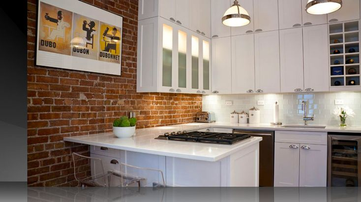 Artistic New York City Kitchen Design Apartment With Brickwall And White 899 502