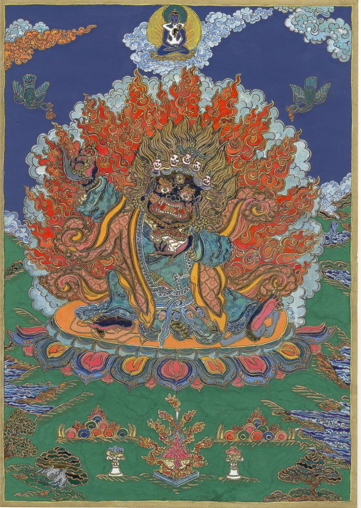 Mahakala, Tibetan Ber Nag Chen ,  is a powerfully-protective emanation of  the Bodhisattva of Compassion, Chenresig (Sanskr. Avalokiteswara). He  defends the Dharma, guides and protects Buddhist practitioners from all kinds of inner and outer obstacles and gives them the power to overcome life's challenges.  The current work, meant to cumulate the energies of the earth trine between Jupiter (Capricorn) and Saturn (Virgo), 2008 Autumn  was inspired by a Mongolian scroll painting
