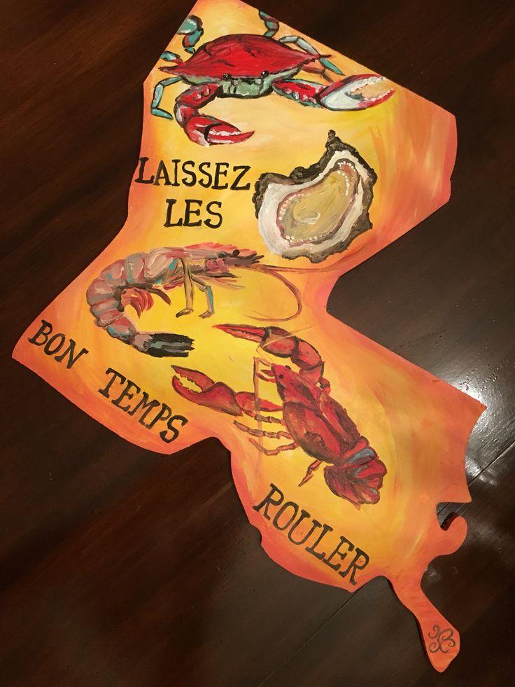 Laissez les Bon temps Rouler Louisiana seafood painting #canvasesbychloe