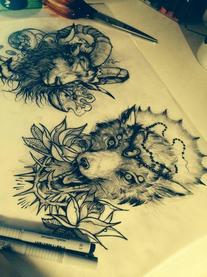 #wolf #rose #grinddesign