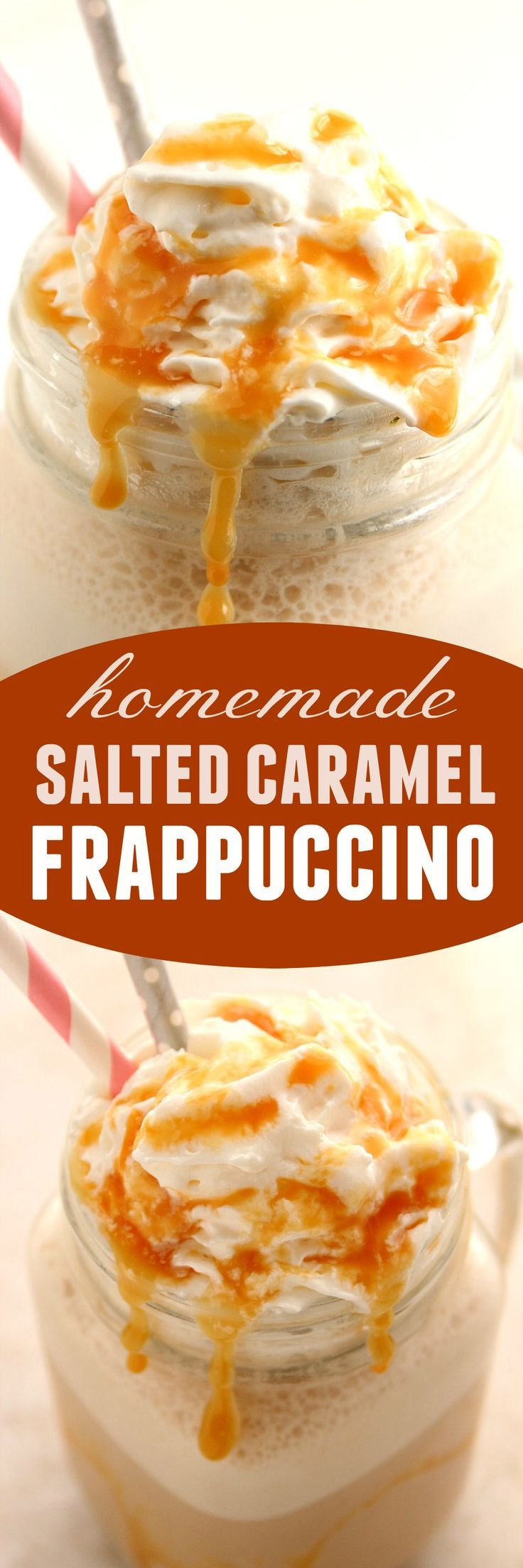 Homemade Salted Caramel Frappuccino Recipe - my favorite coffee shop drink in it's lighter, homemade version. So easy and absolutely delicious!: