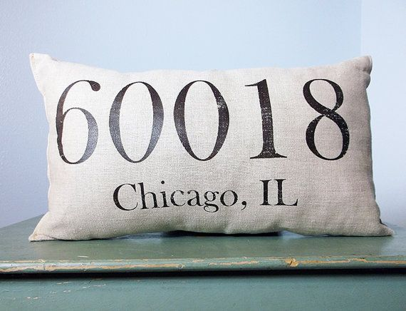 Personalized Pillow Zip Code Pillow City and State by DolceHome, $24.00