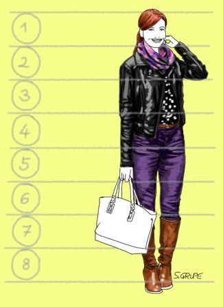 Bei einer Frau mit kürzeren Beinen verlaufen die 8-Kopf-Teilungslinien nicht mehr genau durch die Knie- oder Schritt-Linie - auch wenn sie höhere Schuhe trägt.