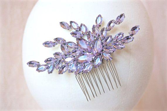 Lilac Rhinestone Hair Comb Lilac Crystal Hair Comb by BoutiqueJuJu
