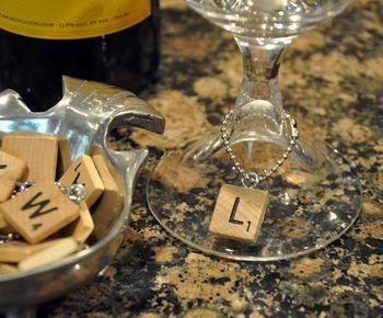 scrabble wine charms