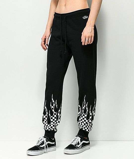 dbefb8067 Vans Checkerboard Flame Black Sweatpants | Zumiez Vans Checkerboard,  Pajamas, Black, Pajama Pants