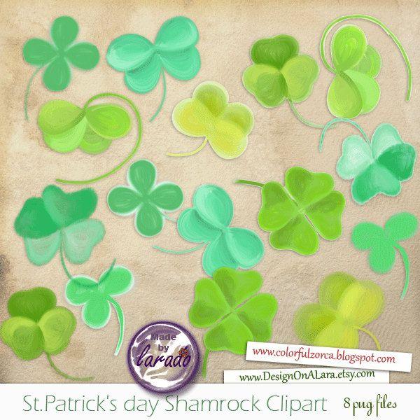 Handpainted Shamrock Clipart, St.Patrick's day clipart, Patricks Day Digital Clovers Clip Art, Four Leaf Clovers by DesignOnALara on Etsy