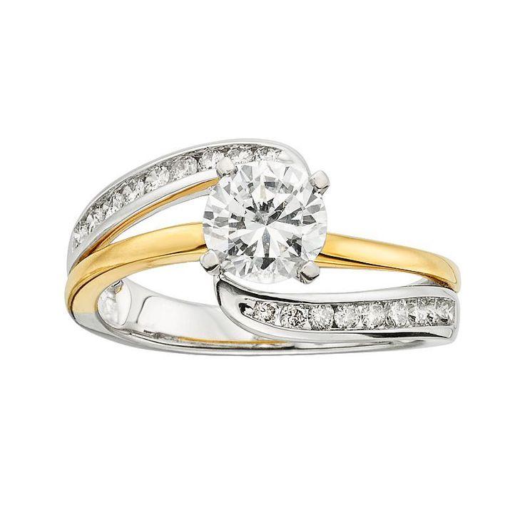 14k Gold Two Tone 1 1/4-ct. T.W. Round-Cut IGL Certified Diamond Swirl Engagement Ring, Women's, Size: