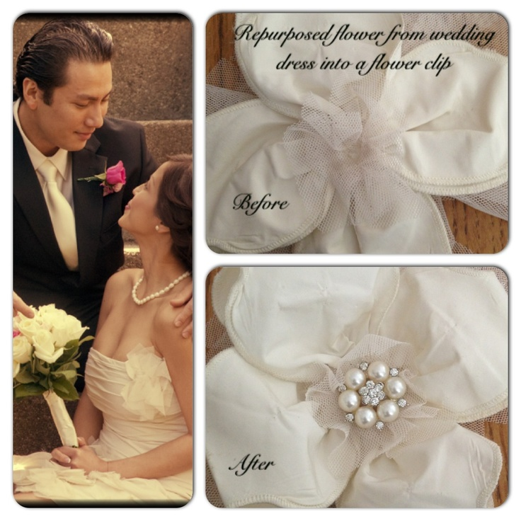 Repurposed Flower From Wedding Dress Into A Hair Clip For Mommy Or Baby