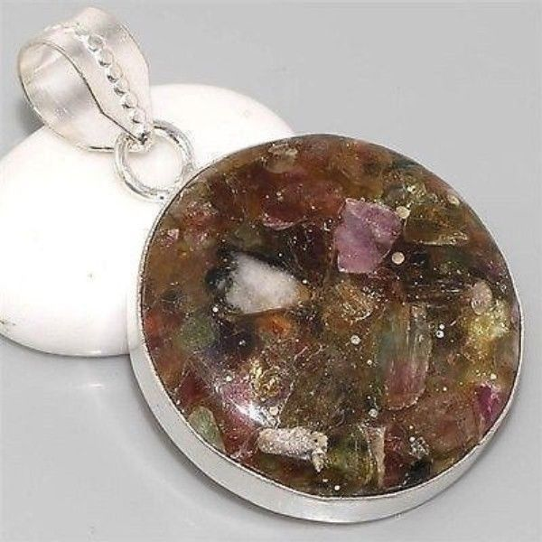 Watermelon Tourmaline, Silver Gemstone Pendant