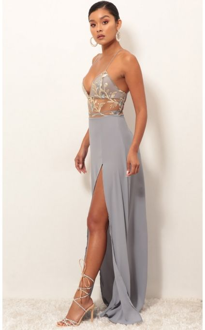 3cc33405bd Party dresses   Loveable Gold Lace Maxi Dress in Grey