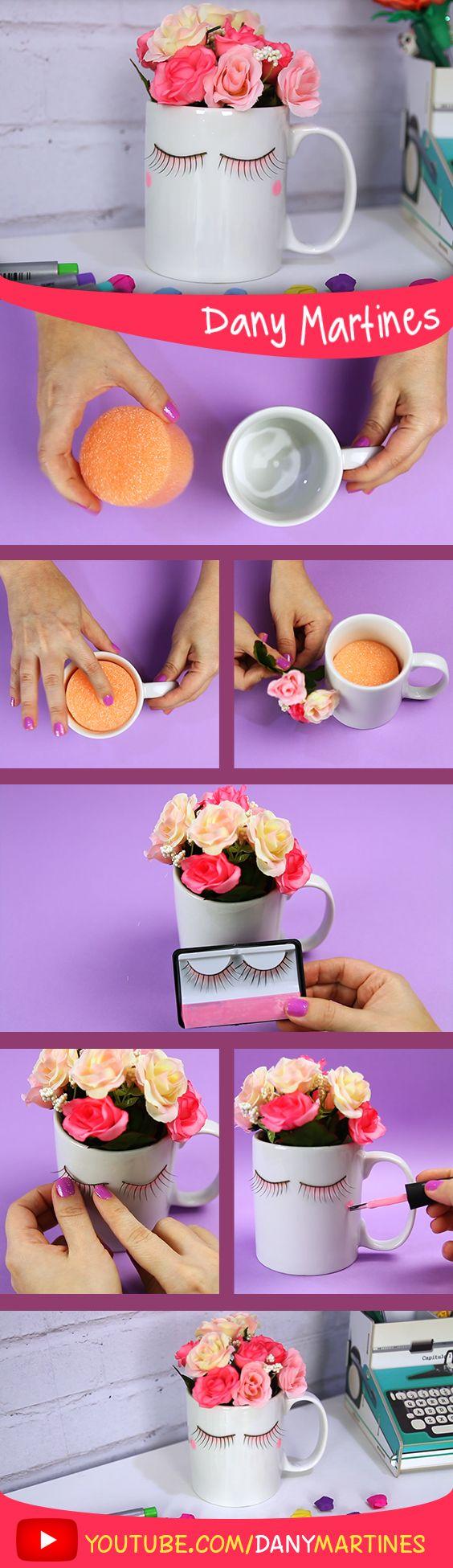 Faça você mesmo uma linda caneca decorada com flores, DIY, DO it yoursefl, Dany Martines