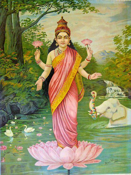 Lakshmi, the goddess of wealth  - Raja Ravi Varma