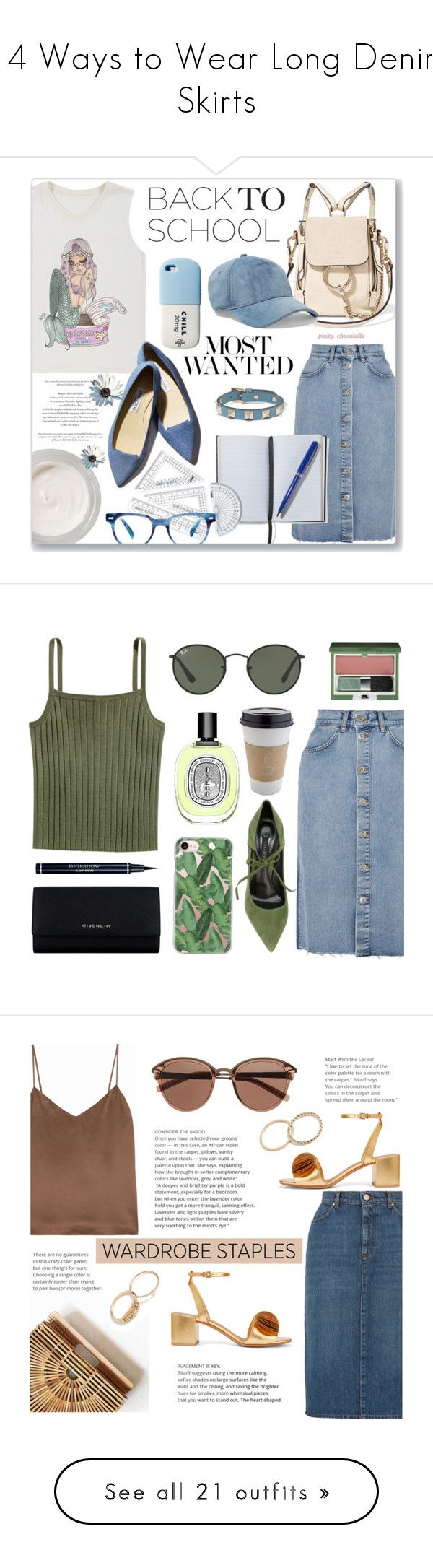 """""""14 Ways to Wear Long Denim Skirts"""" by polyvore-editorial ❤ liked on Polyvore featuring denimskirts, waystowear, Chantecaille, Chloé, M.i.h Jeans, Valfré, Gianvito Rossi, rag & bone, Valentino and Smythson"""
