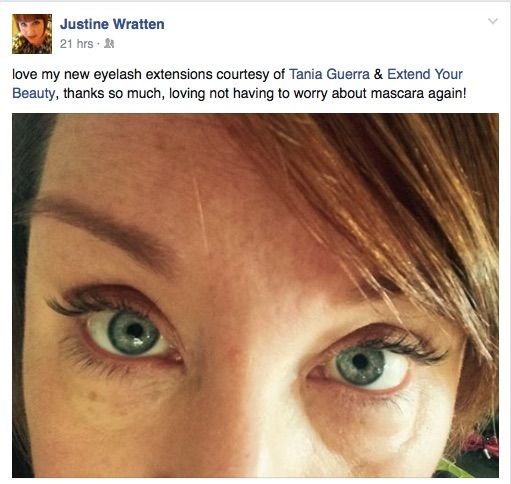 Another happy eyelash extension client. You look fabulous Justine !