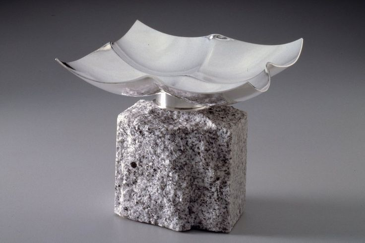 """JACK DA SILVA DISH WITH BASE  Functional dish. Sterling silver, raised with multiple centers.  Included in """"Tangents: Work by Jack da Silva,"""" 2015. Photo: M. Lee Fatherree"""