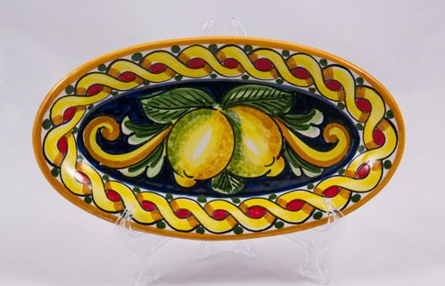 #Souvenir #Plate: #Italy. #Sicily. Two Lemons. #Caltagirone #Ceramics. Hand Made. Oval. Diameter 21 cm