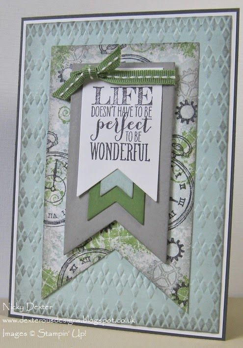 Dexterous Designs: Stampin' Up! Clockworks Stamp Set with Banners Framelits Dies