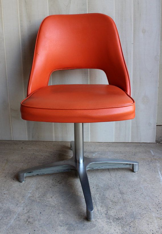 MID CENTURY MODERN Office Chair Orange swivel by SpendThriftThrive