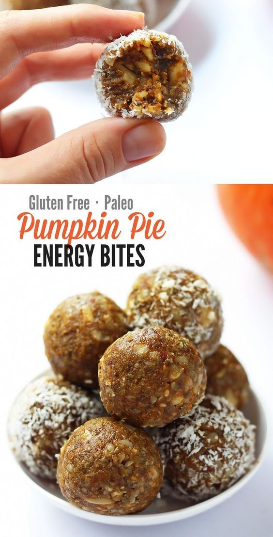 These little energy bites are perfect little snacks.They are no-bake gluten free vegan and paleo friendly and taste like deliciously like pumpkin pie.