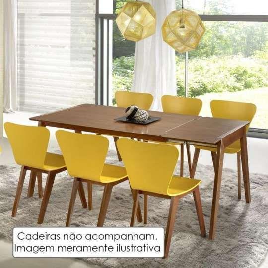 Mesa de Jantar Extensível Primer 120cm/ 160cm - Acabamento Verniz Poliuretano - Madeira Lyptus/Jequitiba – Sunset