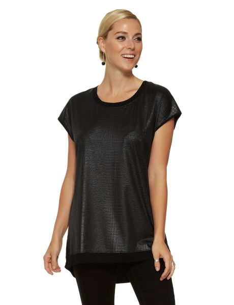 A short-sleeved relaxed fit top with textured reptile print front and a soft knit plain back. It has side slits and a stepped hem. #NewandNow