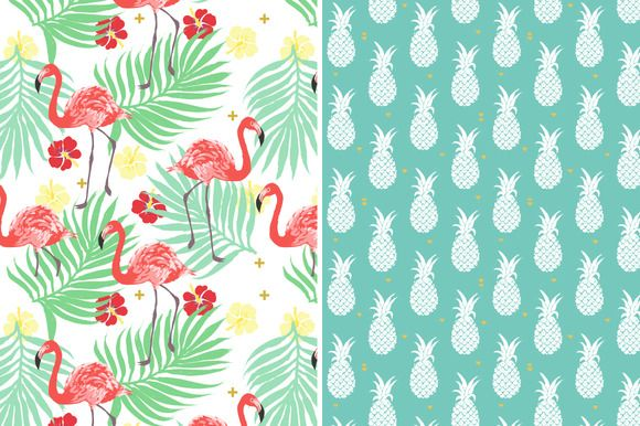 6 Vector tropical patterns + Clipart by InnaMoreva on @creativemarket