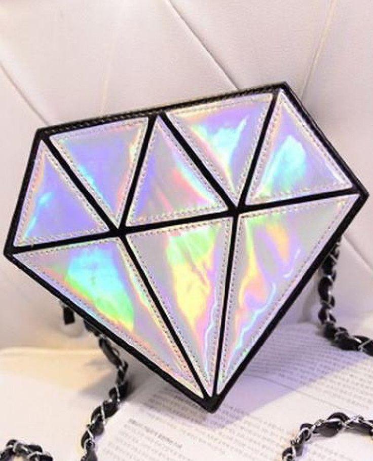 Diamond Shape Hologram Shoulder Bag