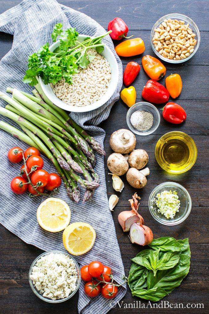 Lemon Garlic Orzo with Roasted Vegetables | Food | Pinterest