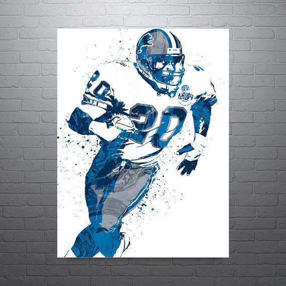 Barry Sanders Detroit Lions Sports Art Print Football Poster