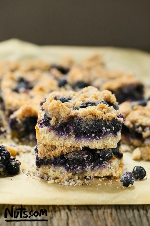 Blueberry Crumb Bars {Gluten-Free, Vegan} - Delicious gluten-free crust layered with fresh blueberries and a sweet, crumbly topping.