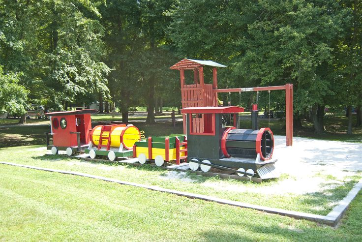 Free wooden train playground plans woodworking projects for Wooden playground plans