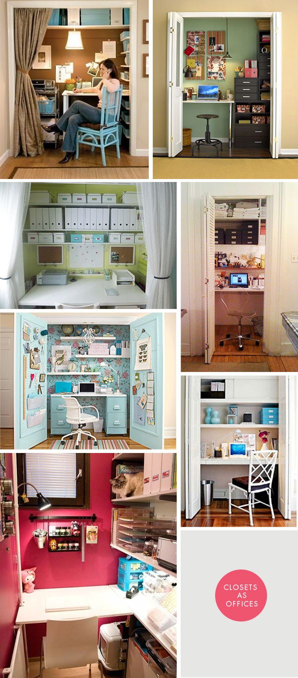 DIY Inspiration - Closets as Offices. Creative ways to convert a closet into a home office. (more like an art station)