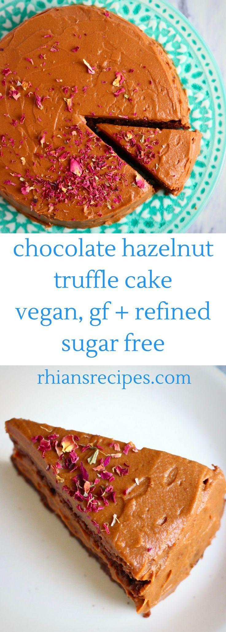 Chocolate Hazelnut Truffle Cake! Vegan, gluten-free + refined sugar free. Filled with the most delicious chocolate sweet potato buttercream.