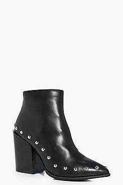Katie Studded Trim Pointed Ankle Boot
