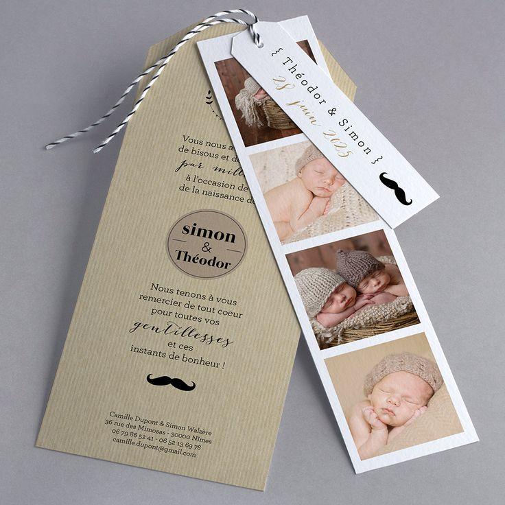 Faire-part de naissance personnalisés, faire-partardoise, vintage, original, jumeaux, nouveauté fpc