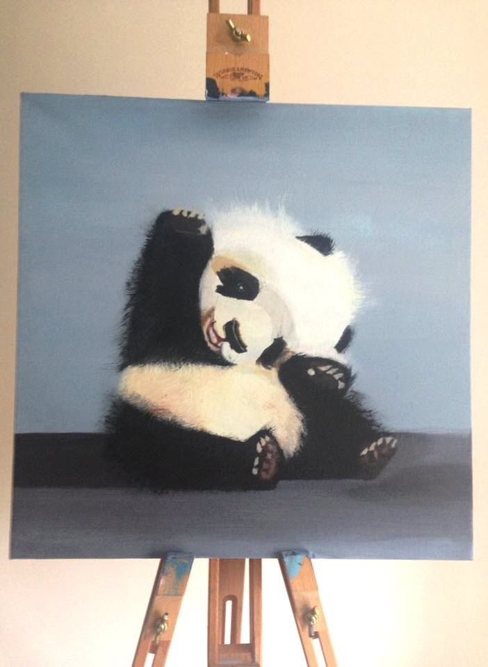 Mag Zeben New Modern Painting Panda Bear Acrylics Cotton
