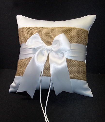 BURLAP Accent Wedding Ring Bearer Pillow Rustic Natural Outdoor Western Theme | eBay