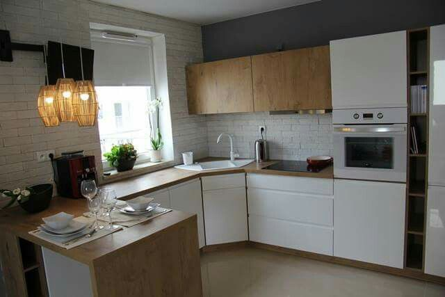 Fushia Kitchen With Brown Cabinets
