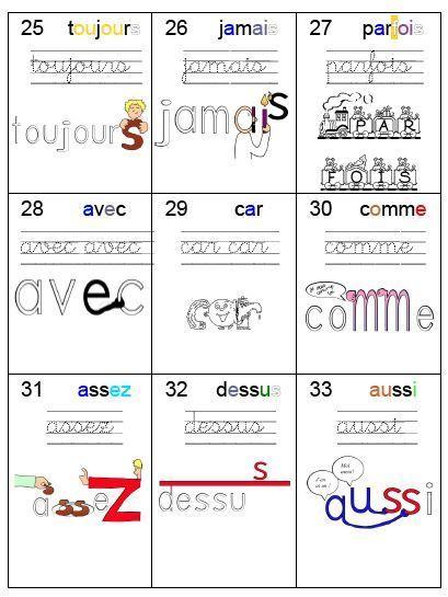 Voici la nouvelle liste de mots outils. J'ai utilisé la liste de http://www.les-coccinelles.fr/ qui me plaisait bien car les mots sont classés par sons. J'y ai fait quelques changements. Le principe : chaque mot est écrit avec un code couleur (application...