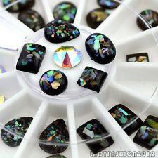 Mix 6 Shape Black Shell Giltter Resin Acrylic Nail Art Decals Phone Gems Wheel