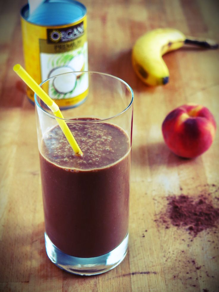 Smoothie de r cup ration banane peche cacao lait de coco for Cocktail lait de coco