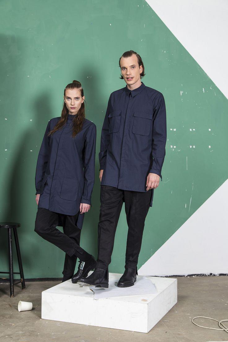 MEI KAWA | Double Mandarin Collar Tunic Shirt