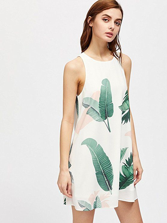 e989b30e73f Floerns Women s Loose Floral Tank Dress Summer Sleeveless Dresses at Amazon  Women s Clothing store
