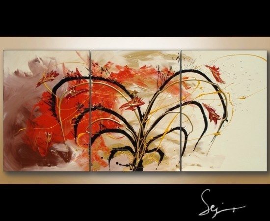 3 piece abstract art painting on canvas.  Interior decor by artist/ designer, Sej.