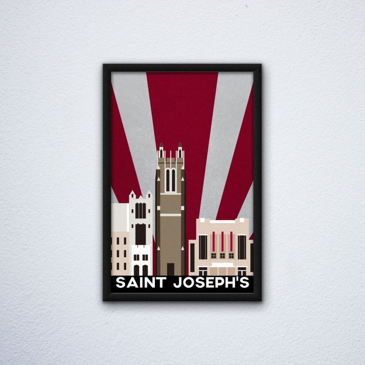 """Saint Joseph's University Campus Poster ft. Barbelin Hall, Mandeville Hall, and Hagan Arena - Hawks (12"""" x 18"""") by WEPdesign on Etsy"""